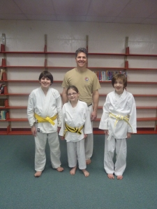 Our newest yellow belts. Luke, Kiaya and Matthew